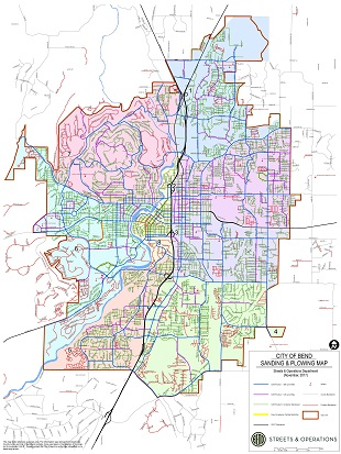 Sanding and snow plowing map for the City of Bend.
