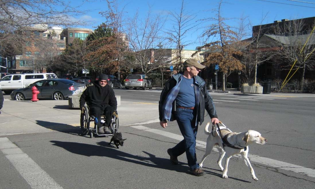 Man in a wheelchair and another man with a service dog cross the street.