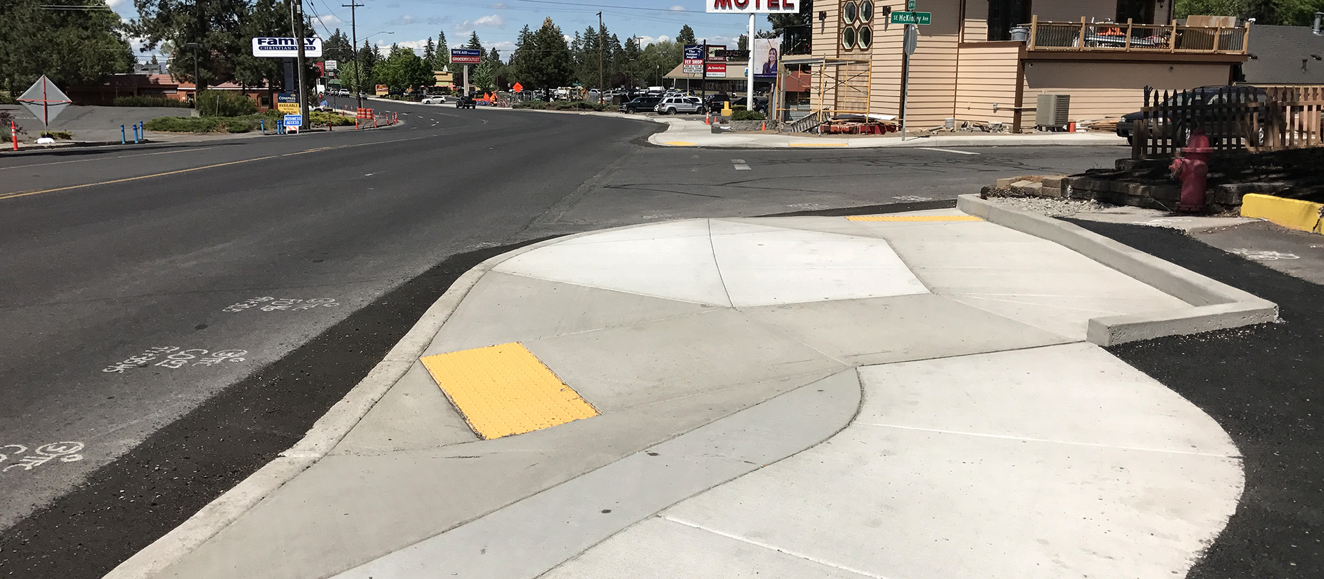 New sidewalk on South Third Street that includes accessibility ramps