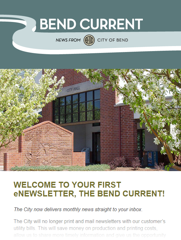 Bend Current enewsletter example image