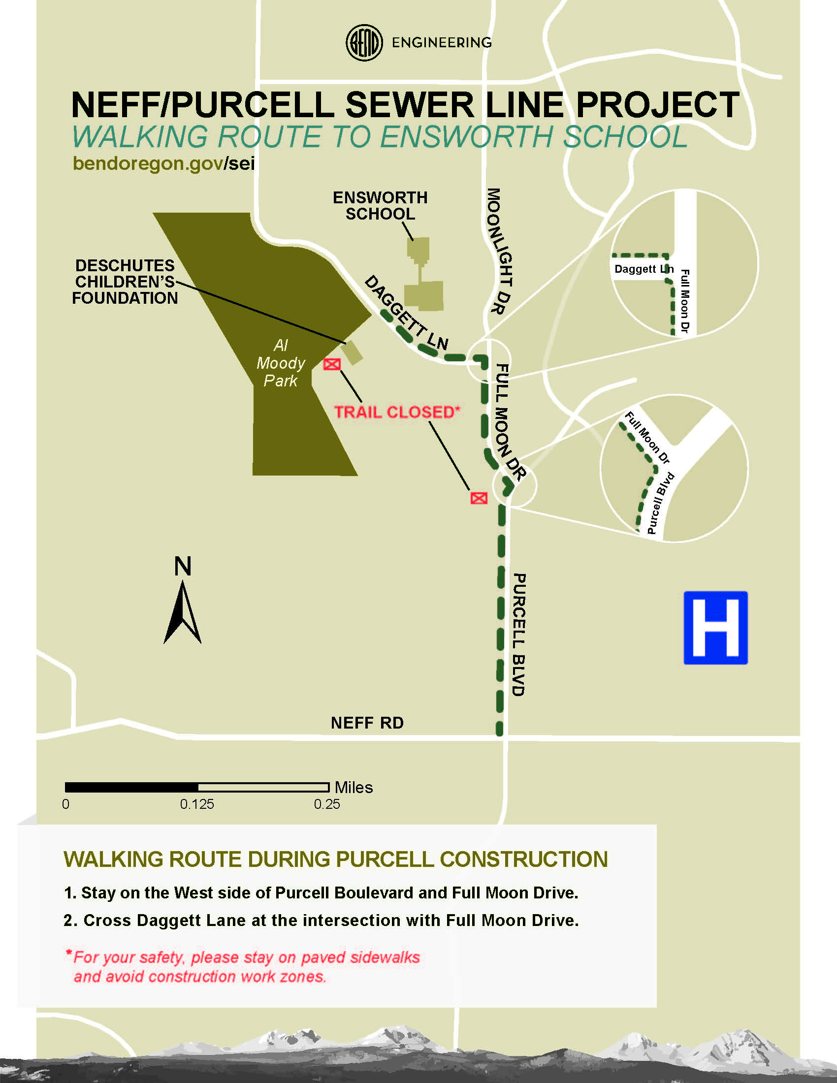 Walking Route to Ensworth School. Stay on the west side of Purcell Blvd and Full Moon Dr. Cross Daggett Ln at the intersection with Full Moon Dr. For your safety, please stay on paved sidewalks and avoid construction work zones.