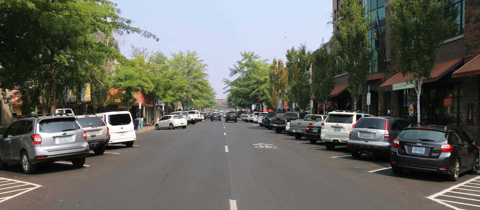 Looking down Wall Street on a summer day in Downtown Bend Oregon