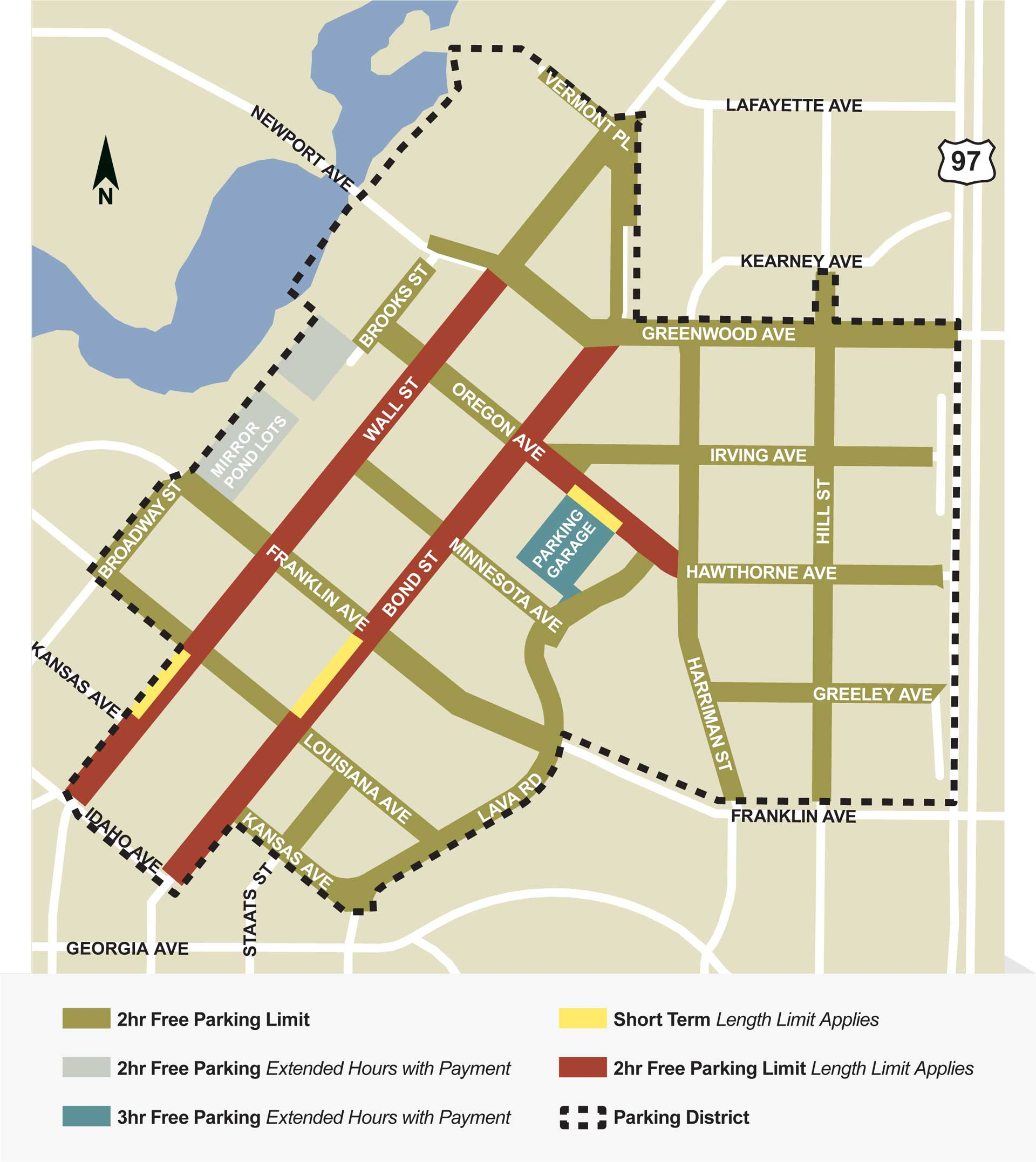 Map depicting where to park and parking restrictions in downtown Bend Oregon