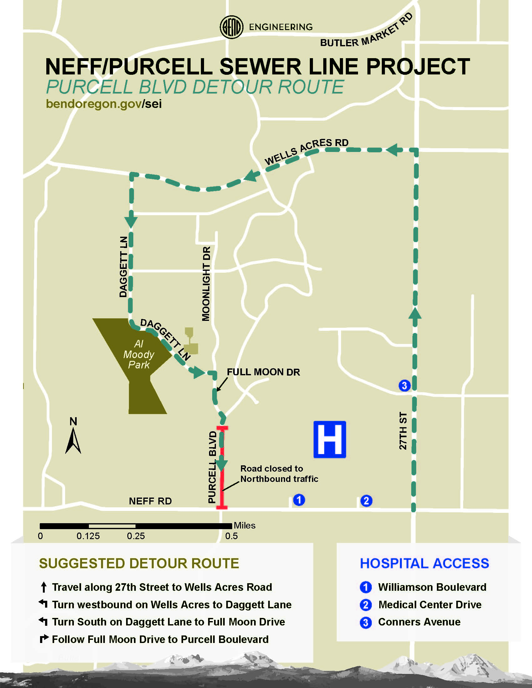 Purcell Blvd detour route map. To access Purcell Blvd north of Neff Rd, travel north on 27th St, then turn westbound on Wells Acres Rd to Daggett Ln, then turn south on Daggett Ln to Full Moon Dr. Follow Full Moon Dr to Purcell Blvd.