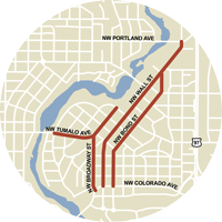 Emergency snow zone map for Downtown Bend