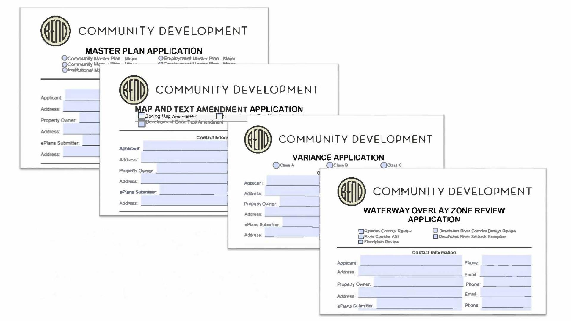 Image of applications which Planning Commission typically reviews