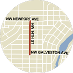 Map showing NW 14th Street/SW Century Dr construction between NW Galveston Ave and NW Newport Ave.