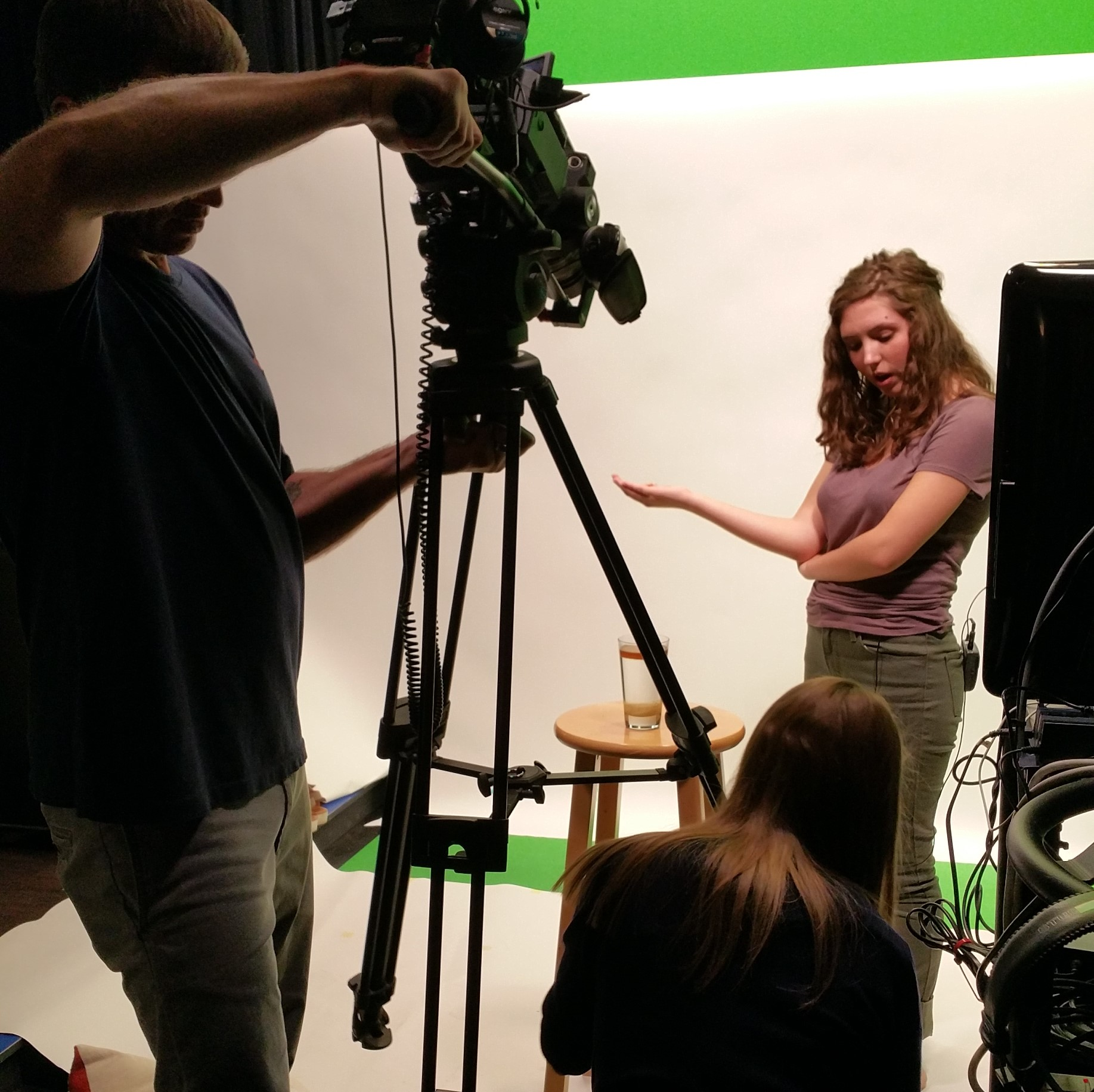 Crew filming student for a Clean Water Works video.