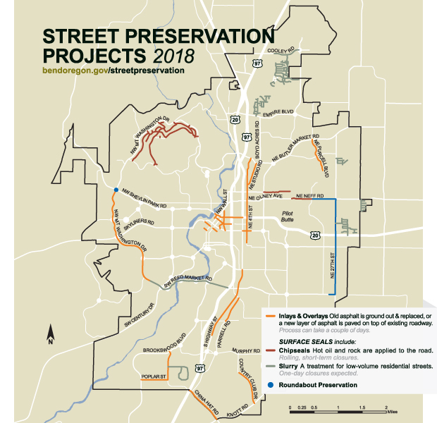 Map depicting upcoming street preservation work for the 2018 summer construction season. Visit bendoregon.gov/streetpreservation for more information.