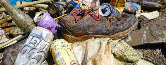 Pile of beer cans and other trash found in the Deschutes River.