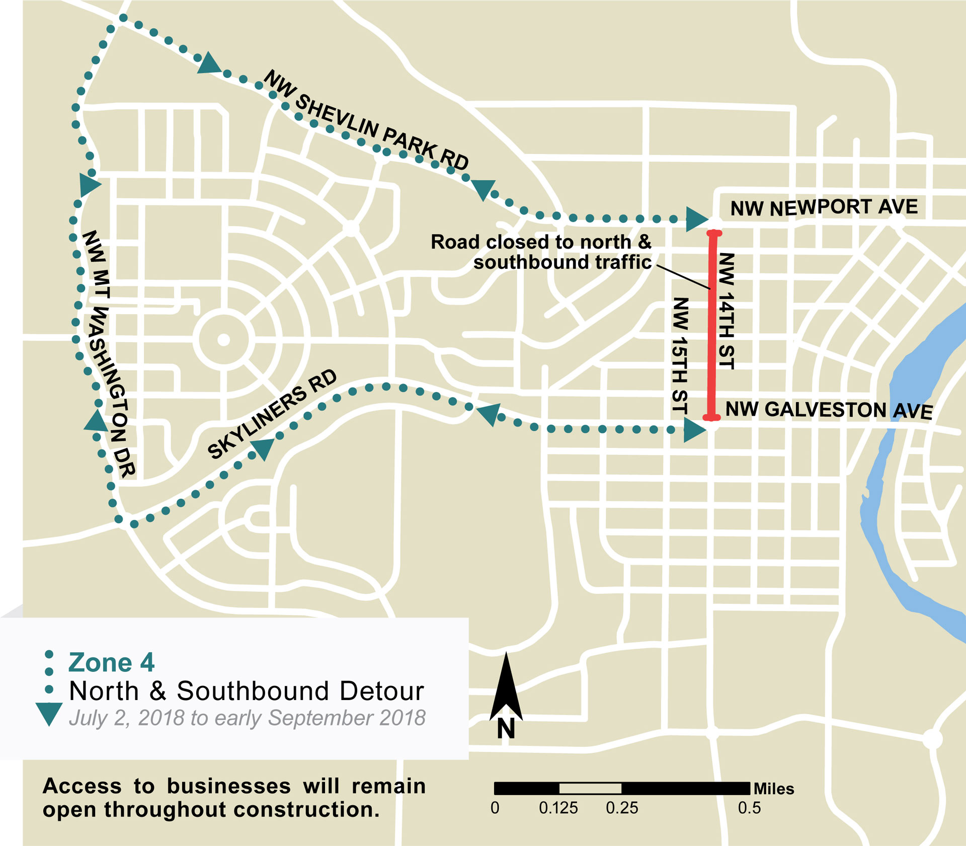 Detour map showing complete closure of 14th Street between Newport Avenue and Galveston Avenue. Southbound detour involves traveling west on Newport Avenue/Shevlin Park Road, South on Mt Washington Drive, east on Skyliners Road/Galveston Ave to meet back up with 14th Street. The northbound detour is the reverse. Detour will remain in effect until early September.