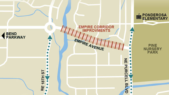 Empire Corridor Improvements map showing location of improvements between 18th Street and Purcell Boulevard.