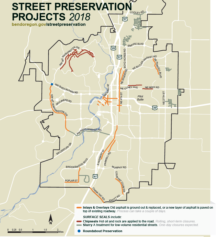 Map of planned 2018 City of Bend paving projects