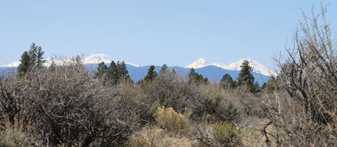 View of snowy Three Sisters mountains.