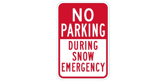 No Parking During Snow Emergency sign.