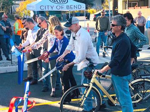 Ribbon cutting at 14th Street marking the wrap-up of 7-year GO Bond project completion.