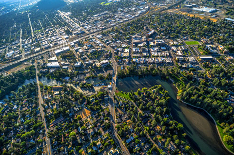 Aerial view of Bend.