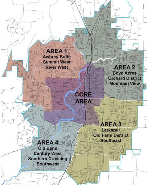 Map of Bend broken down into 5 areas: Area 1=Awbrey Butte, Summit West, River West; Area 2=Boyd Acres, Orchard District, Mountain View; Area 3=Larkspur, Old Farm District, Southeast; Area 4=Old Bend, Century West, Southern Crossing, Southwest; Area 5=Core Area.
