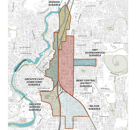 Map of the Core Area Project study area, which spans an area to the east and west of Highway 97, roughly from Cleveland Ave in the South to around Riverview Park in the North.