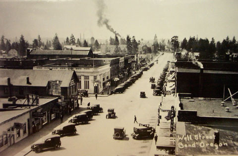 Bend's Wall Street during the early 1900s.