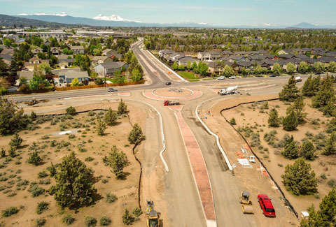Aerial photo of construction of new roundabout at Empire Ave and Purcell Blvd.