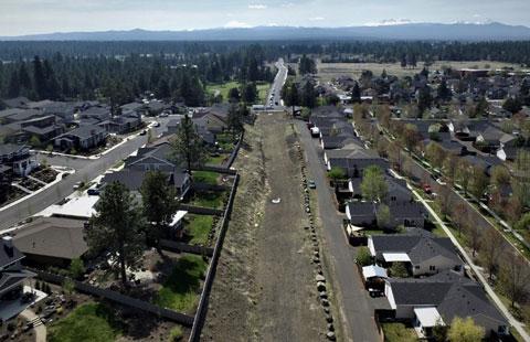 Aerial photo of construction of Murphy Corridor.