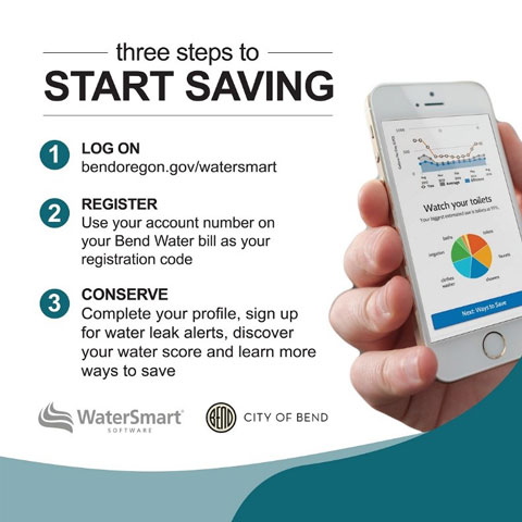 Three steps to start saving with WaterSmart: 1. Log on at bendoregon.gov/watersmart. 2. Register using your account number on your Bend Water bill as your registration code. 3. Complete your profile, sign up for water leak alerts, discover your water score and learn more ways to save.