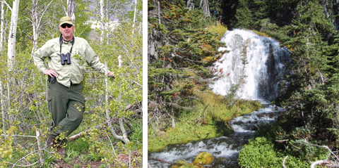 Roger Prowell and a waterfall in Bend's watershed.