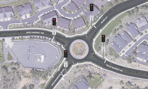 Mock up of Reed Market and Bond/Brookswood Roundabout with traffic signals.