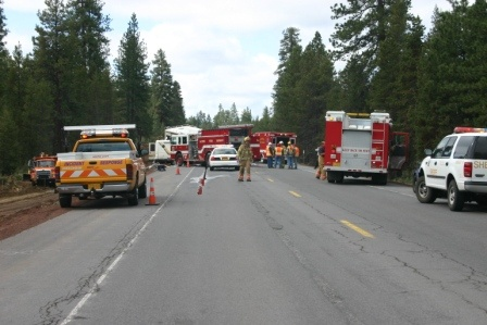 Image of an incident with various city and county departments on scene