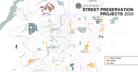 Map showing location of street preservation projects for 2020.