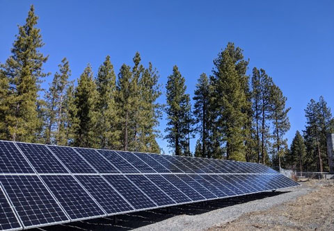 Solar panels at the Water Filtration Facility.