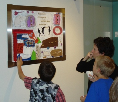 Children looking at artwork
