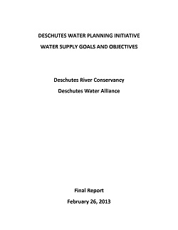 Cover Page Deschutes Water Planning Initiative