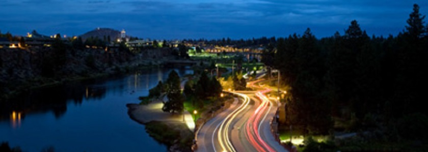 Reed Market Road crossing the Deschutes at night