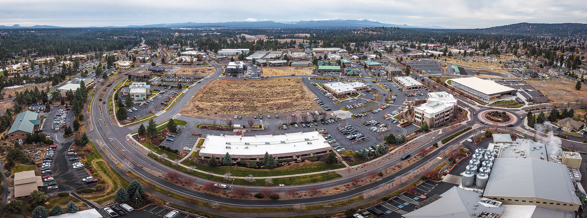 Birdseye panorama of the innovation district in Bend during the fall.