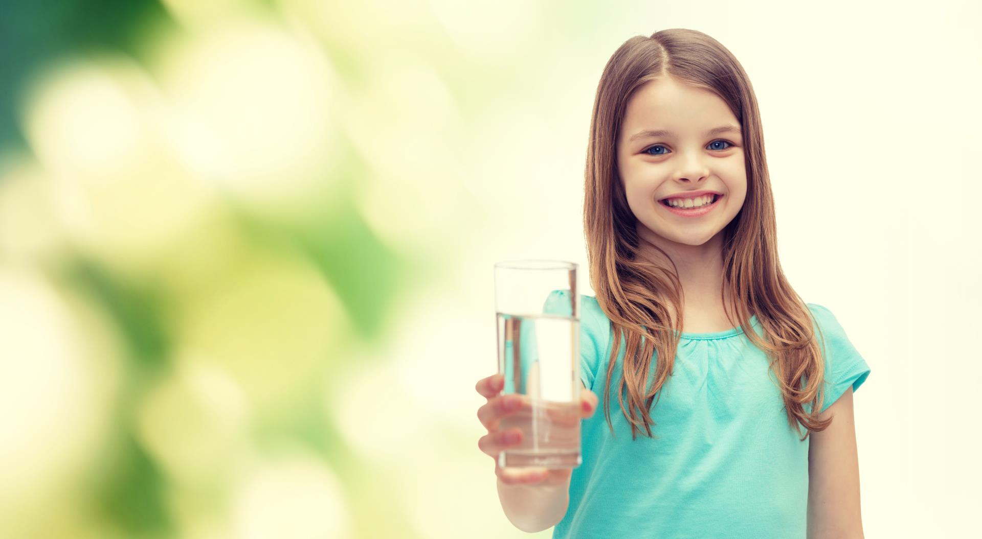Girl holding water glass and utility department logo