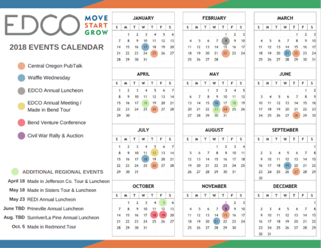 Calendar of 2018 Economic Development for Central Oregon (EDCO) Events