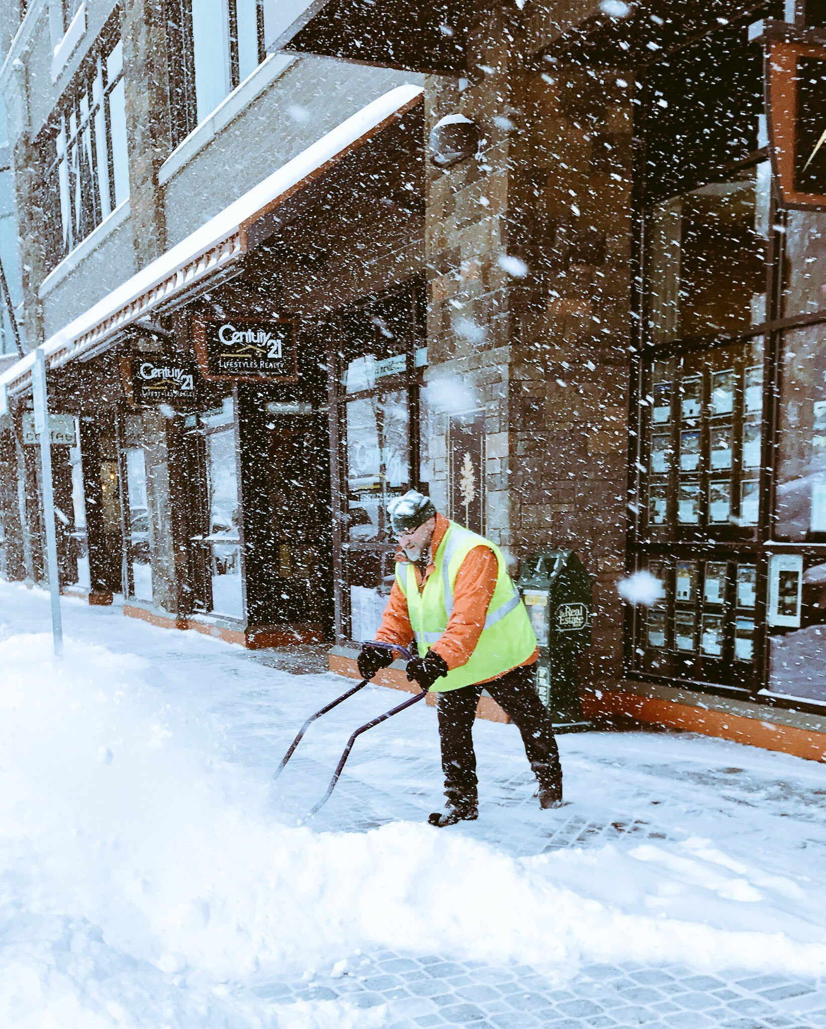 DBBA Executive Director, Rod Porsche, shovels snow in January 2017