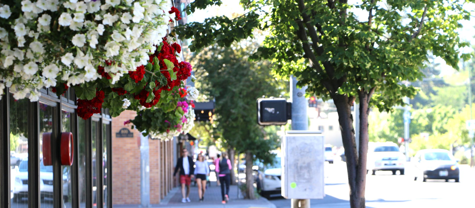 Hanging flower baskets and people walking along Franklin Avenue in Downtown Bend during the summer