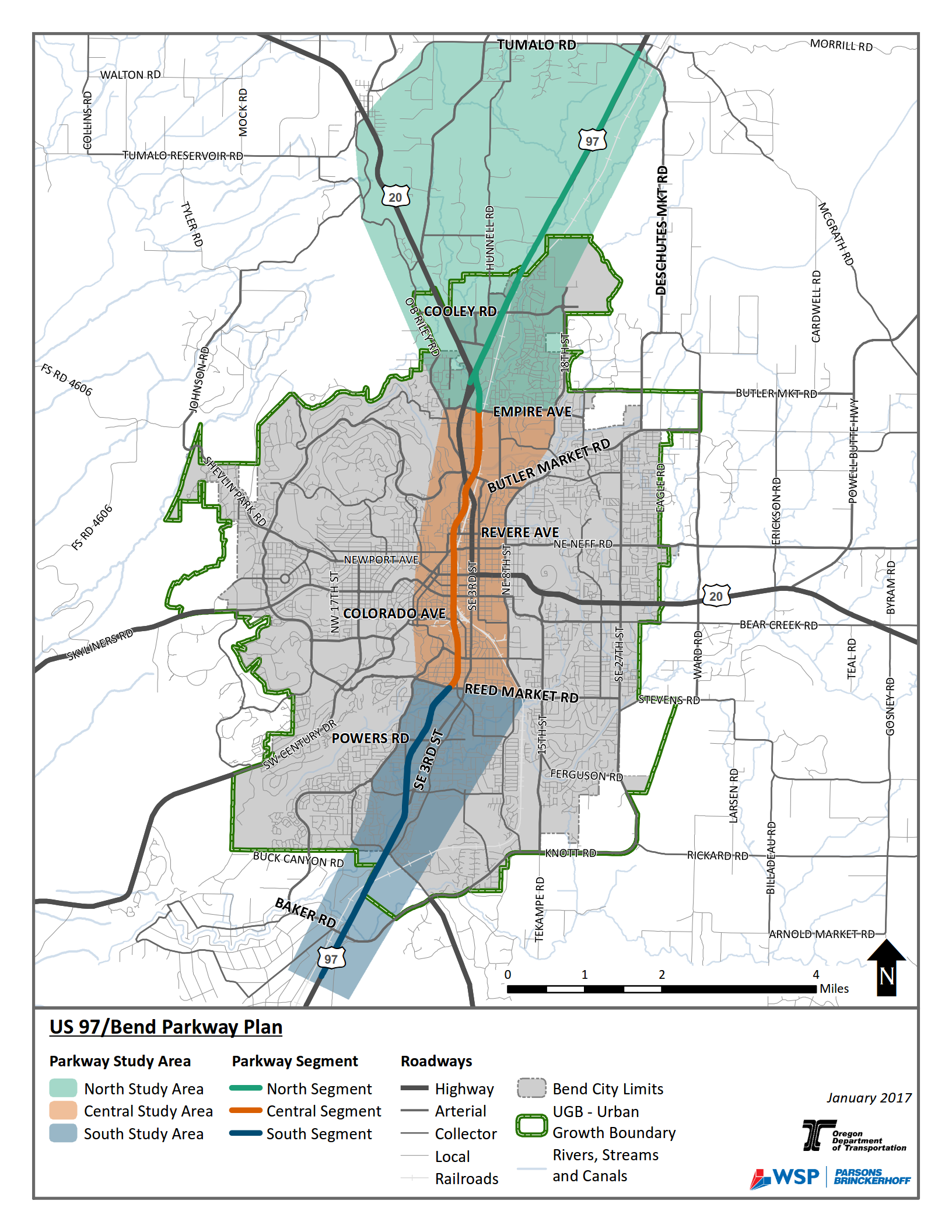 Map of Bend Parkway Plan Study Area
