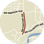 Map showing NW 14th Street/SW Century Dr construction between SW Colorado Ave and SW Simpson Ave.