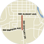 Map showing NW 14th Street/SW Century Dr construction between SW Simpson Ave and NW Albany Ave.