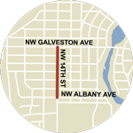 Map showing NW 14th Street/SW Century Dr construction between NW Albany Ave and NW Galveston Ave.