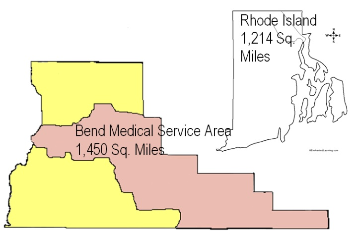 Bend EMS area larger than Rhode Island
