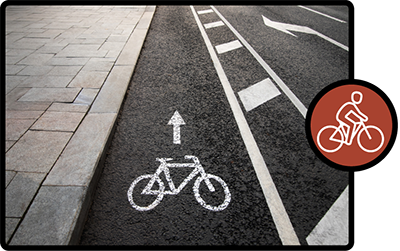 Image and icon depicting buffered bike lanes.