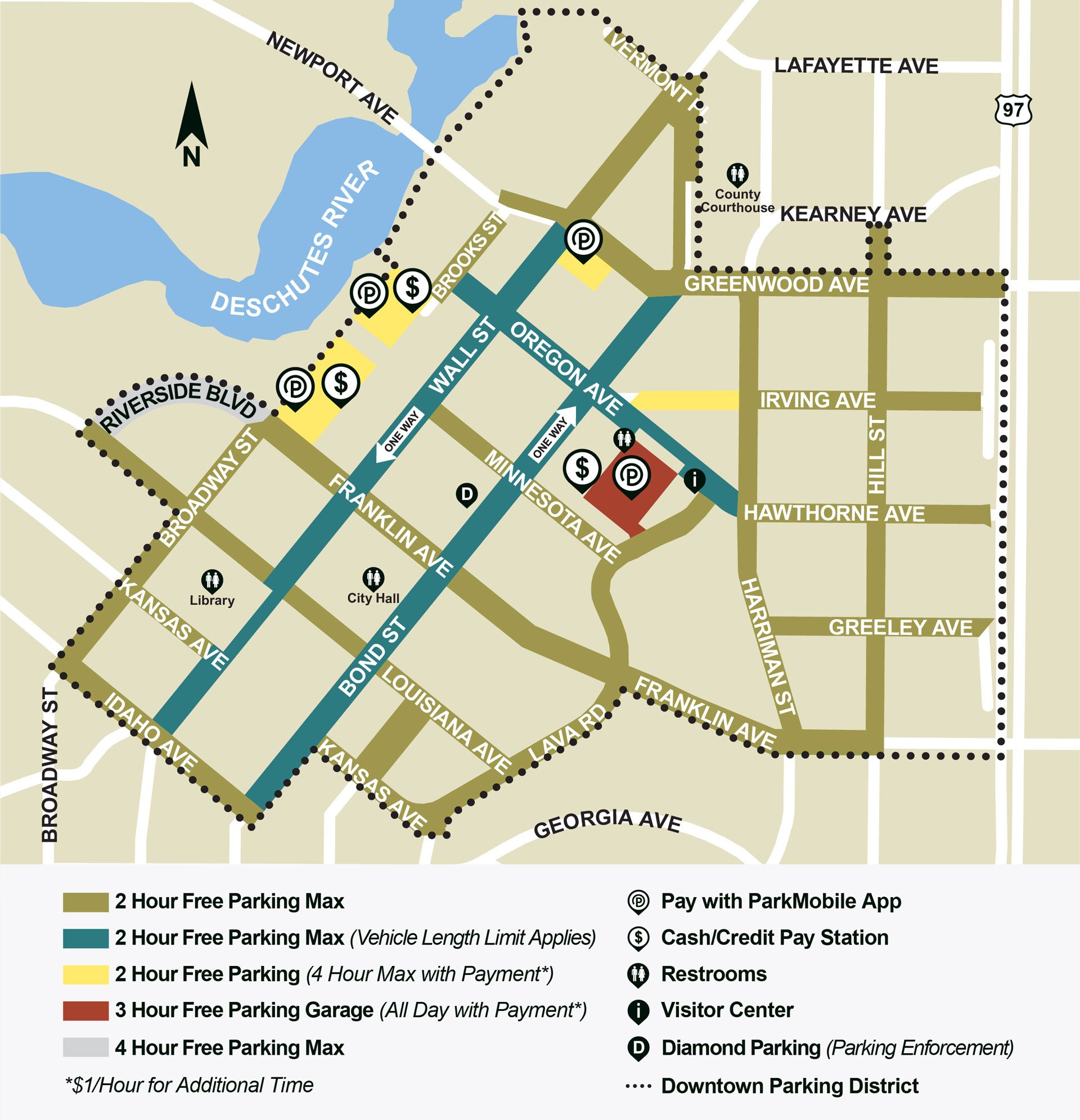 Parking City Of Bend Parallel Park Diagram Map Depicting Where To And Restrictions In Downtown Oregon