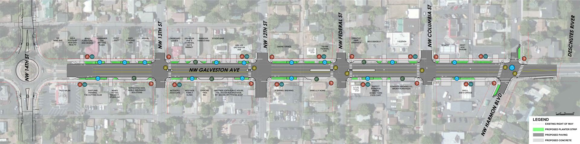 Draft plan concept for Galveston Ave between 14th Street and the Deschutes River bridge.