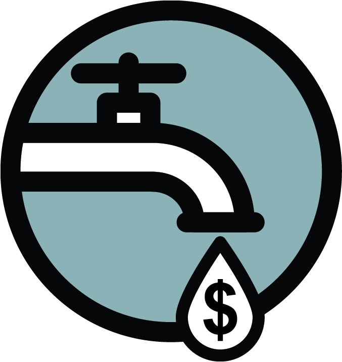 water tap dripping a water drop with a dollar sign