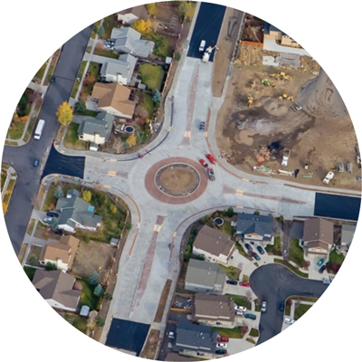 Brookswood and Powers Roundabout construction aerial.